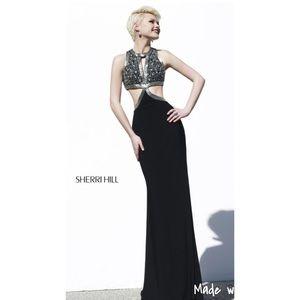Sherri Hill Black and Silver Prom Dress